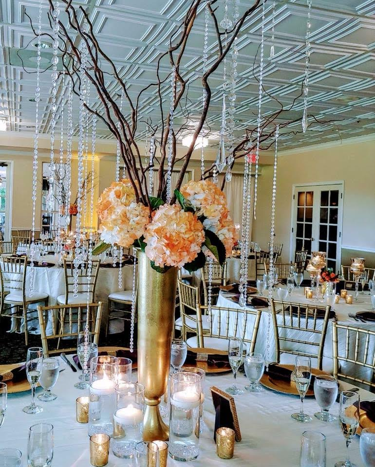 Ivory Taffeta Tablecloths with Brown Poly Napkins, Gold Bling and Gold Chargers
