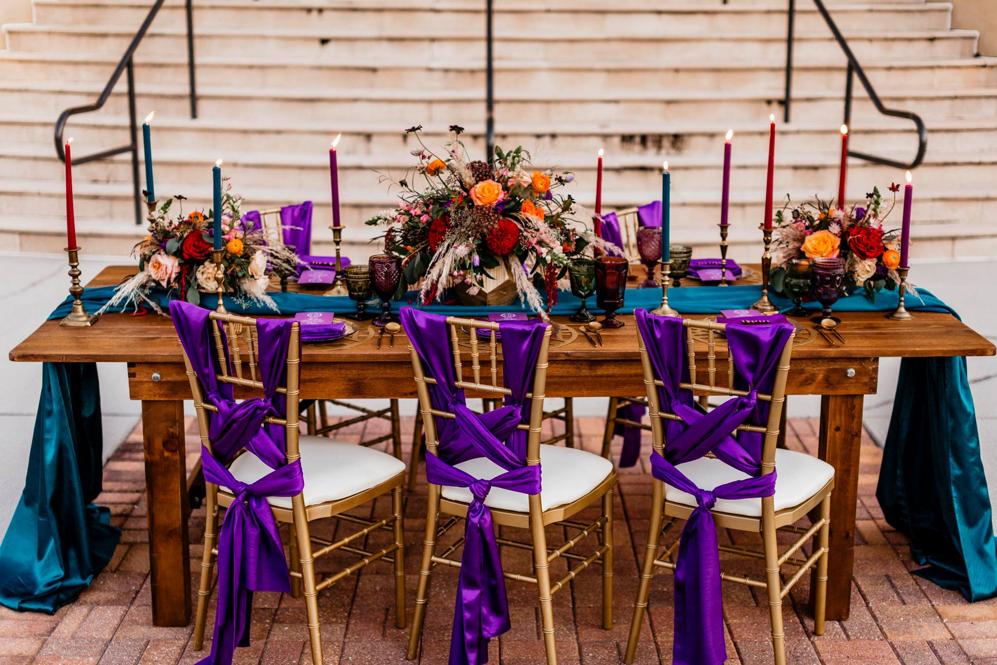 Purple Majestic Sashes and Teal Majestic Tablecloth