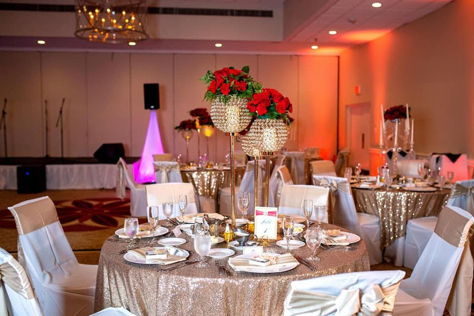 Champagne Sequin Tablecloth w/ Champagne Satin Sashes and White Poly Chair Covers