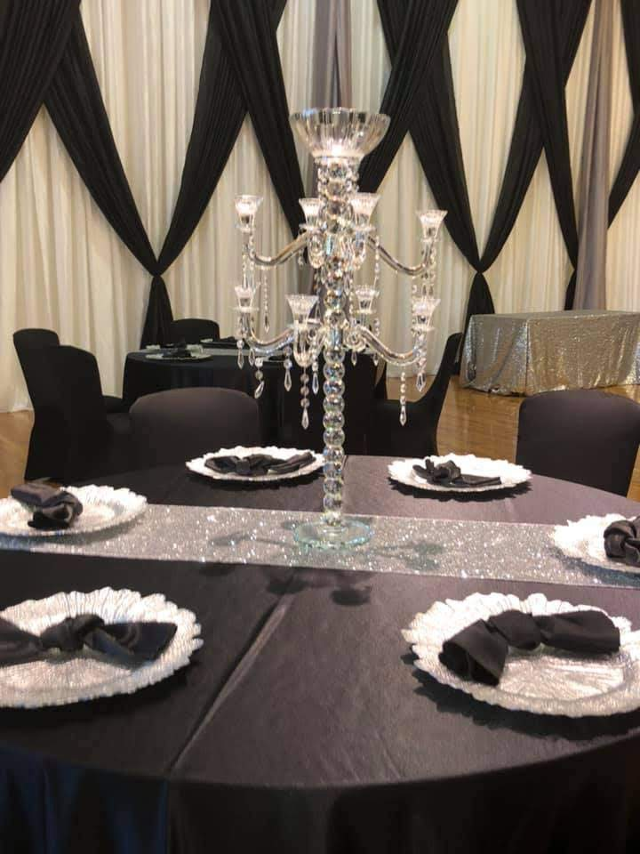 Black Majestic Tablecloths w/ Black Majestic Napkins and Black Spandex Chair Covers