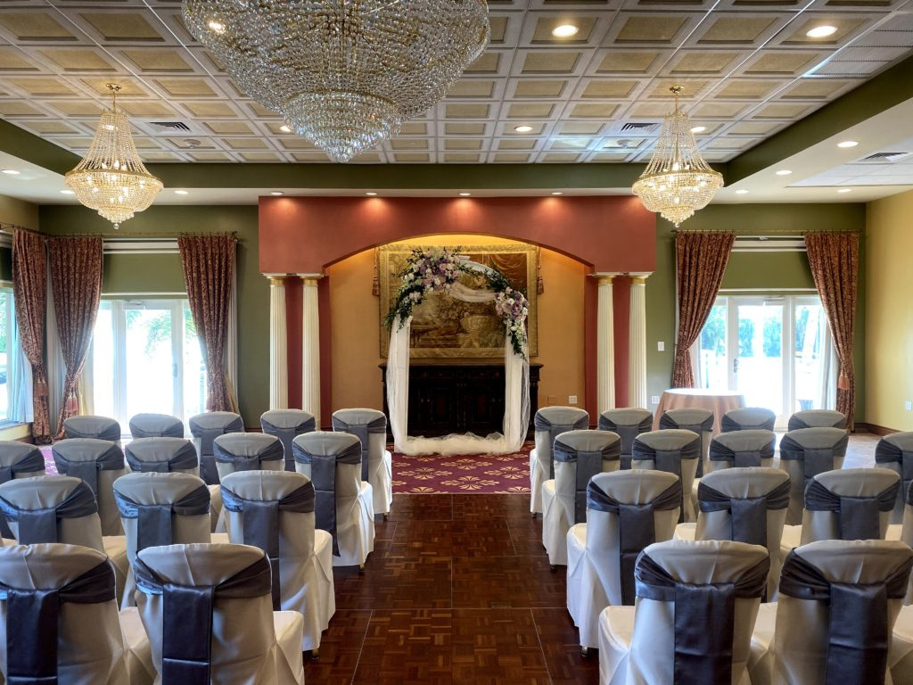 Wedgewood Satin Sashes and White Poly Chair Covers