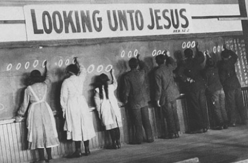 Looking Unto Jesus, Kids at Blackboard