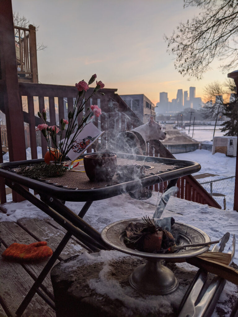 Huitzilopochtli Sunrise Ceremony at the Torres' Home in Minneapolis, MN on December 21, 2019 (Winter Solstice).