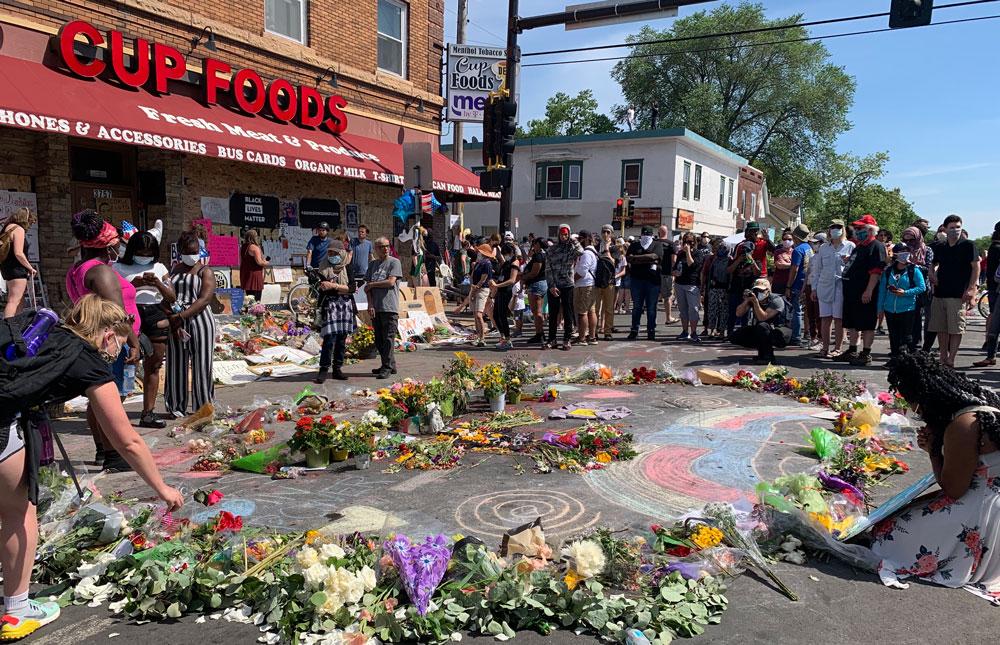 George Floyd Memorial with flowers