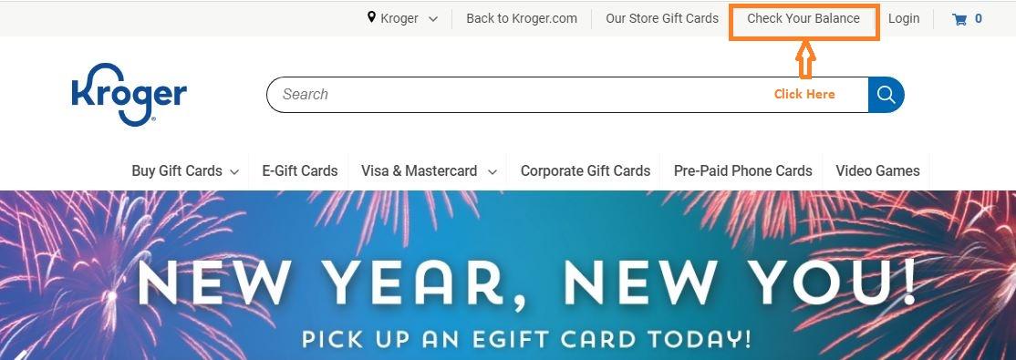 Kroger Gift Card Balance Check step 1
