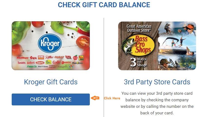 Kroger Gift Card Balance Check step 2
