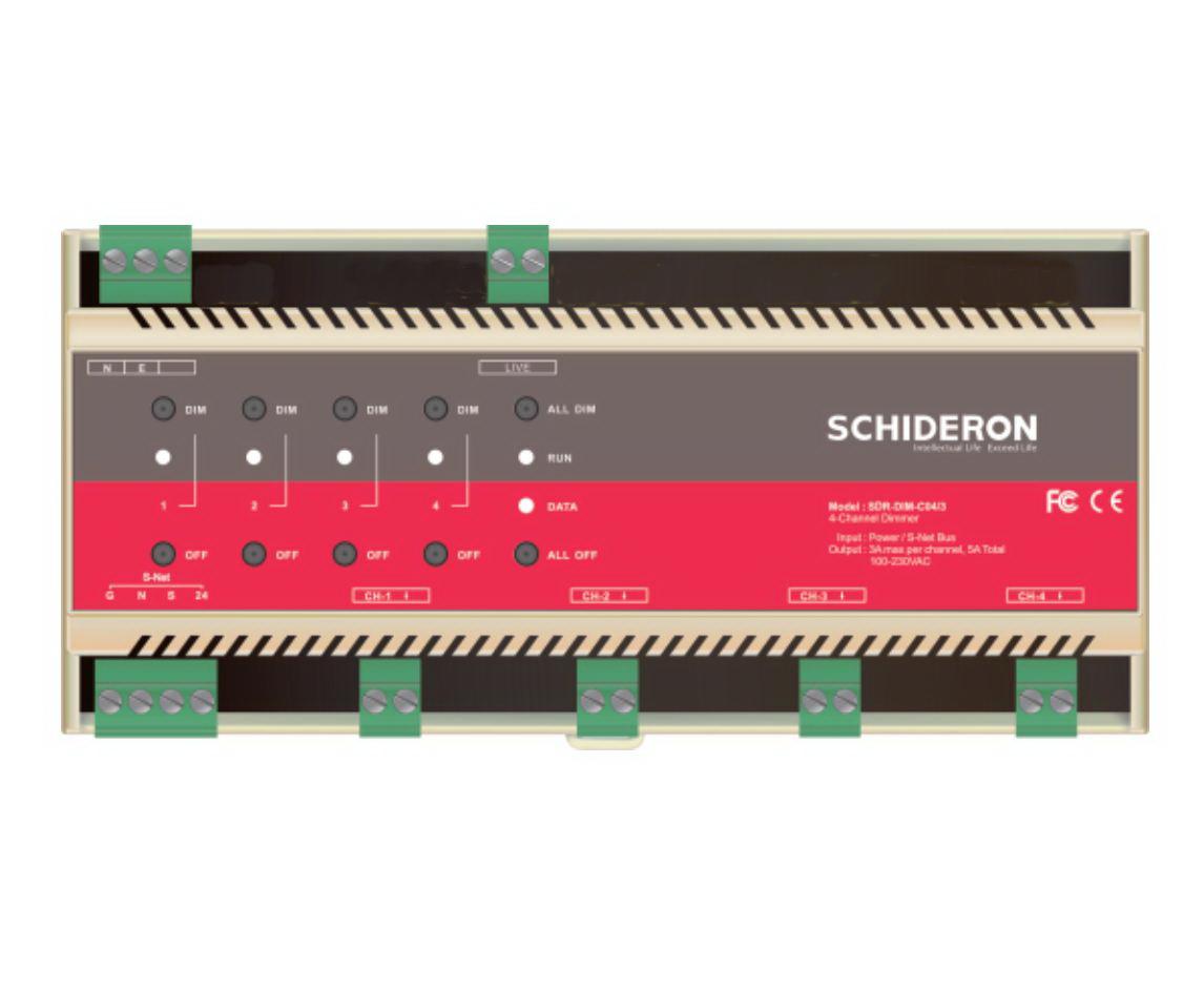 SDR-DIM-C04/3 4CH 3A TRIAC調光模塊