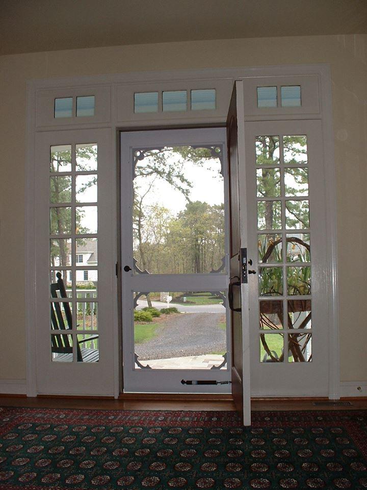 Custom wooden storm door