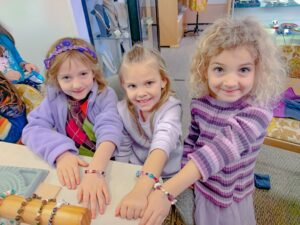 Girls enjoyed a bead bracelet class at High Tide Beads on Hilton Head.