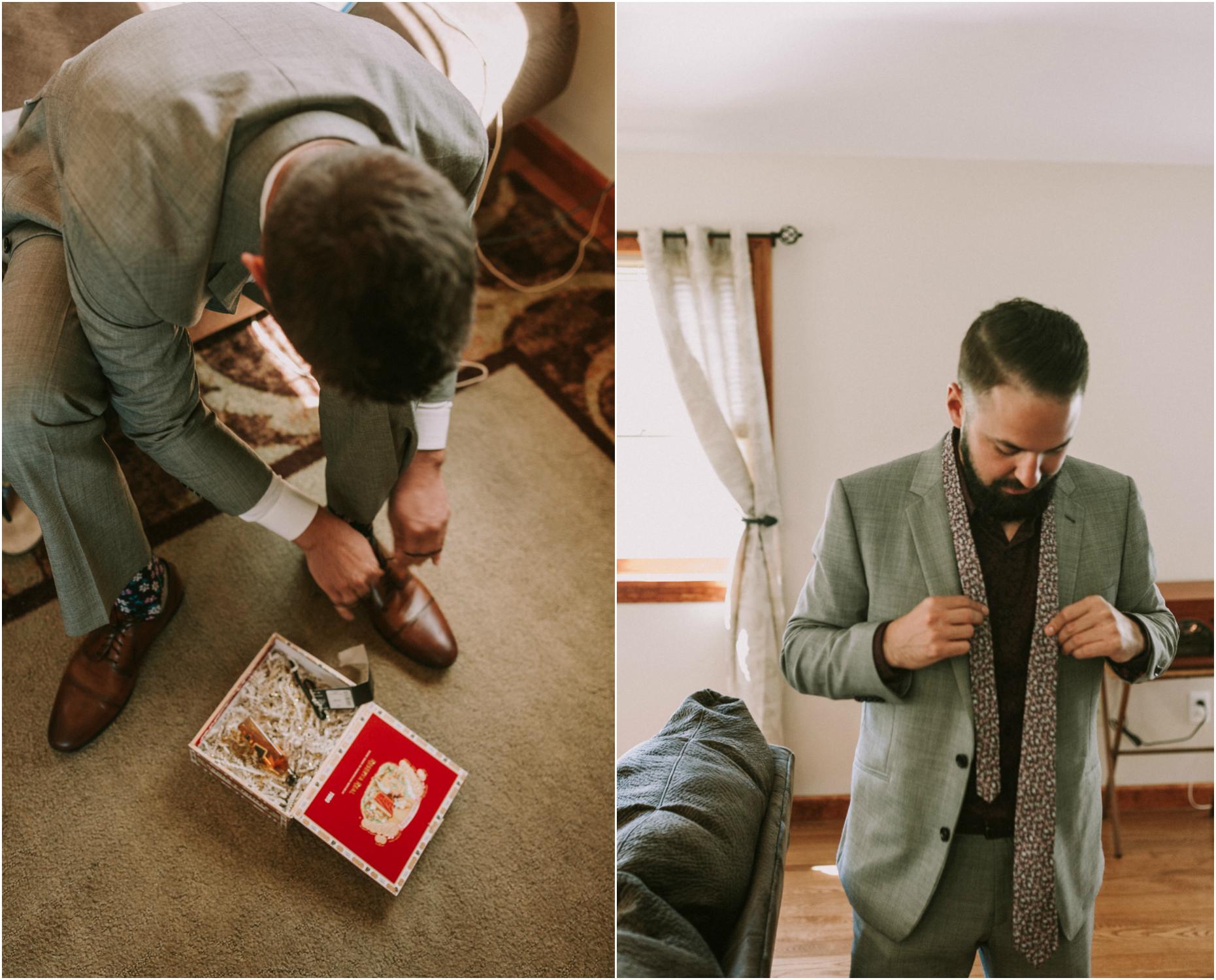 cigar box gift, tie in cigar box, groom putting on tie, groom tying tie, groom floral tie, purple tie wedding