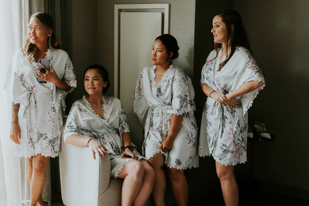 bridal party getting ready portraits