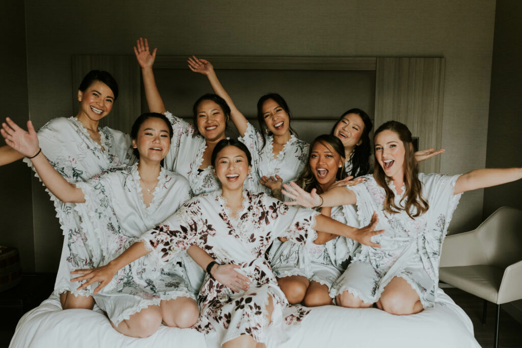 Bridal party getting ready photos