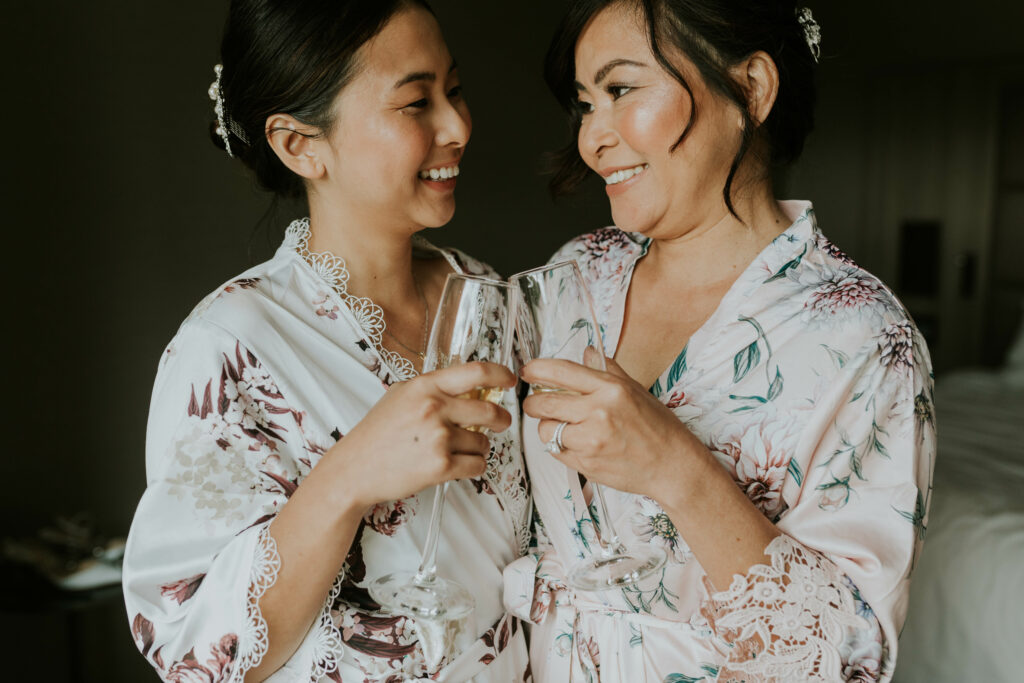 bride and bridesmaid toasts