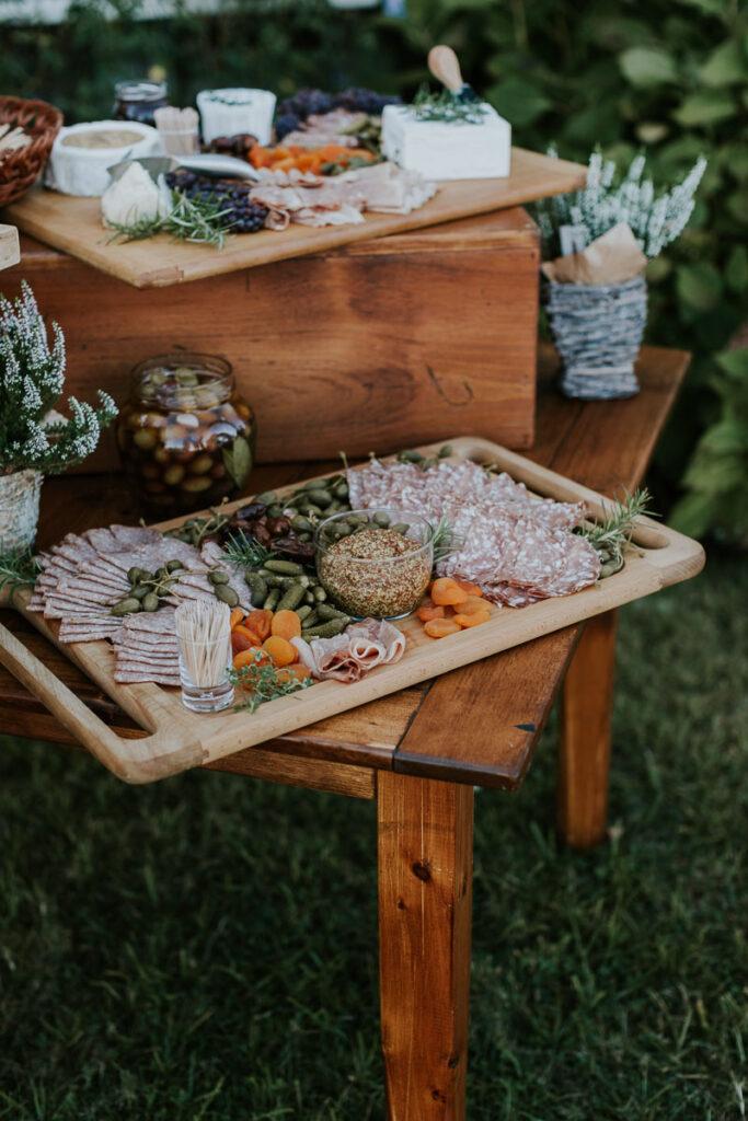 charcuterie board at Cape Cod wedding reception