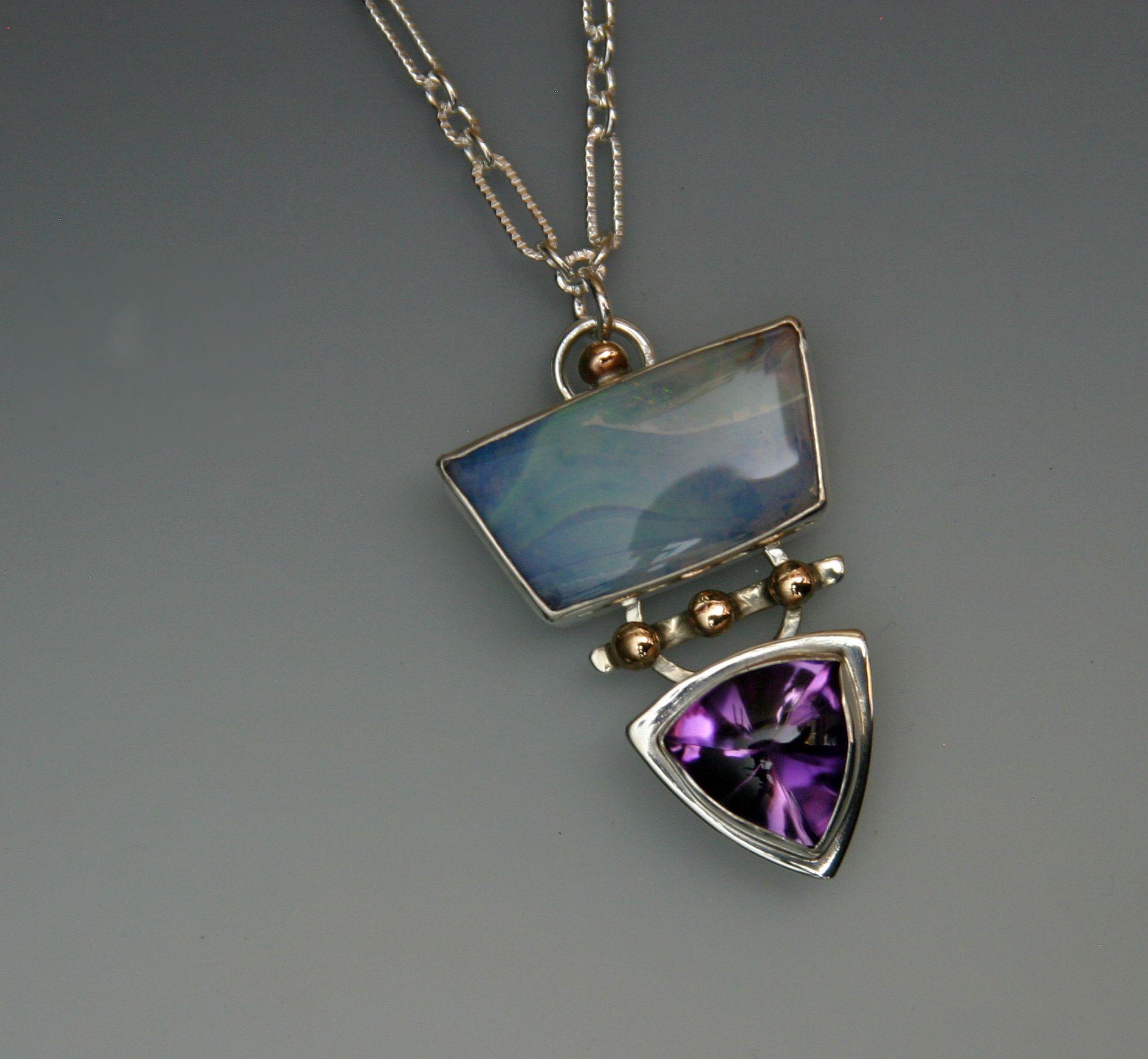 boulder opal tri amethyst