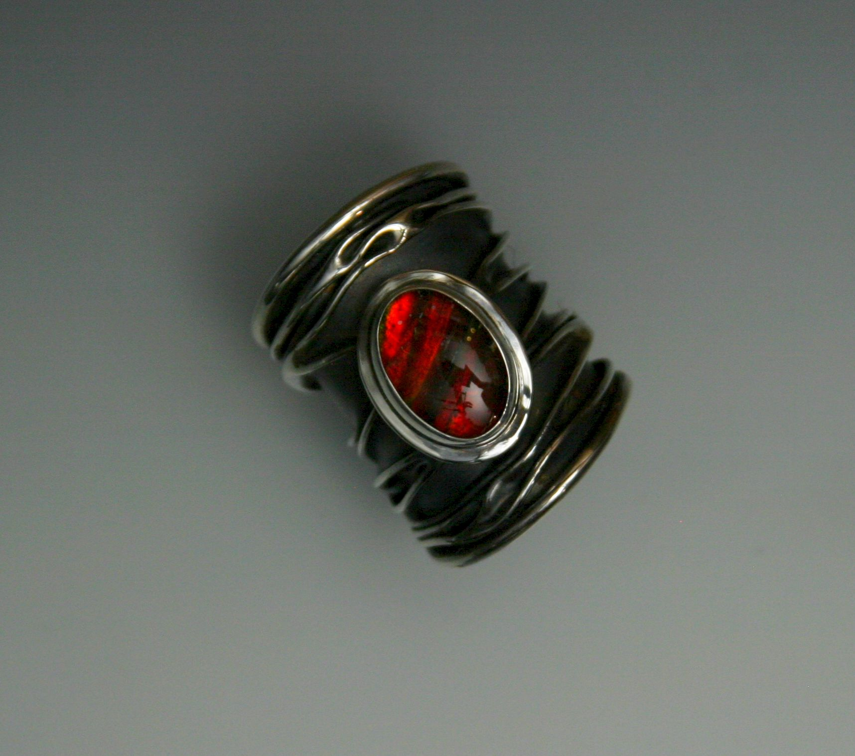red ammolite ring