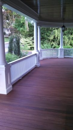 Freshly stained mahogany deck in Newton, Massachusetts