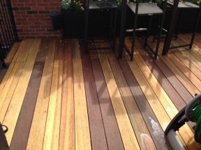 restored mahogany decking in a Boston Back Bay residence
