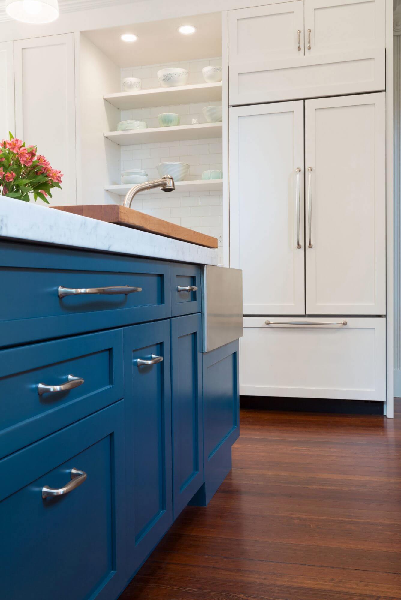 Hague blue kitchen cabinets.