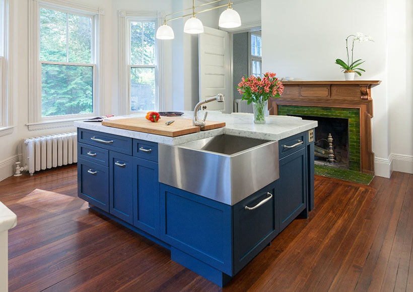 blue kitchen in newton, MA that was painted with farrow and ball hague blue paint
