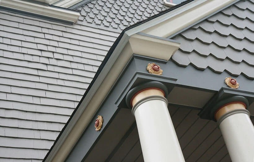 Painted columns on home in Brookline, Mass.