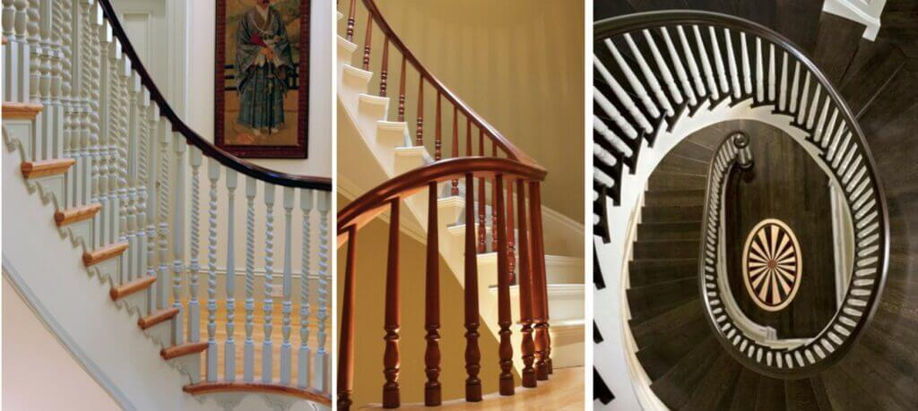 refinished wood railings, painted stairs and natural wood floors