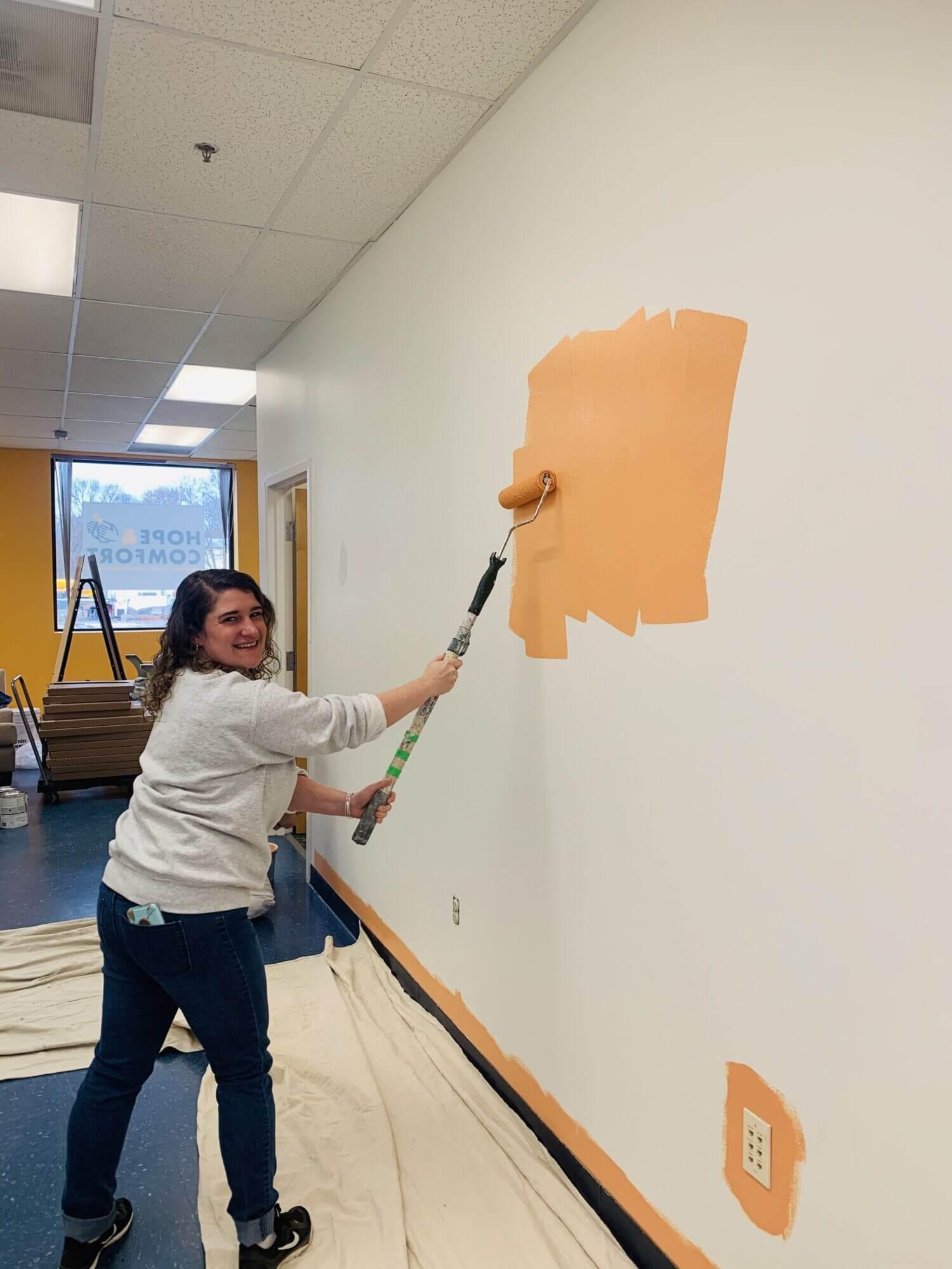 Repainting the walls at Hope & Comfort