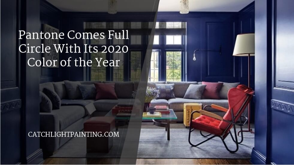 beautiful living area in Pantone's COTY for 2020: Classic Blue