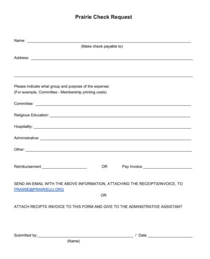 Prairie Check Request