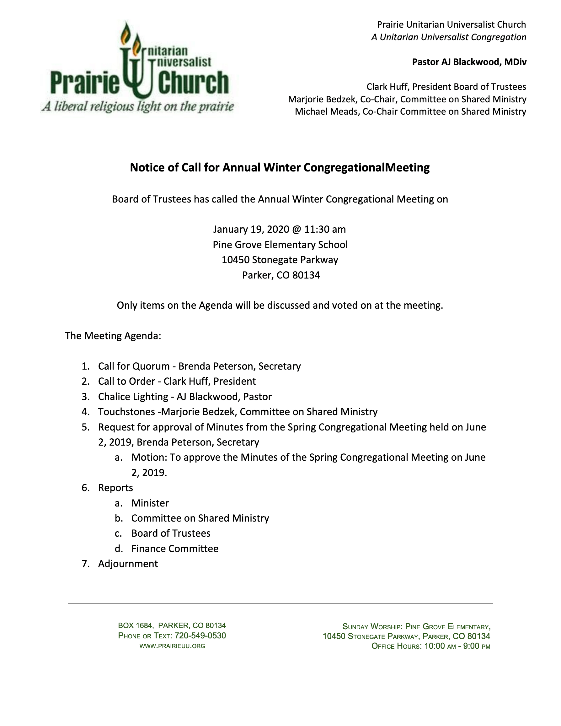 Prairie Congregational Meeting - January 19, 2020
