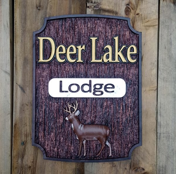 custom deer lake lodge sign