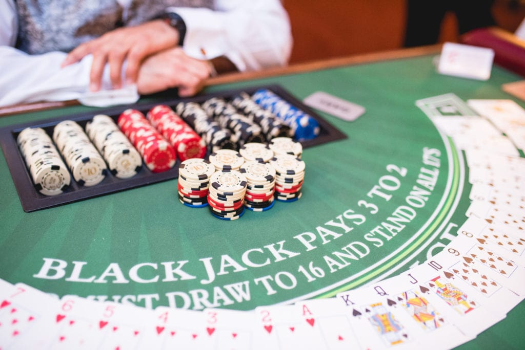 Blackjack Table with Chips