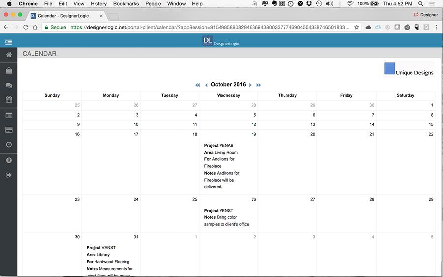Client View: Calendar