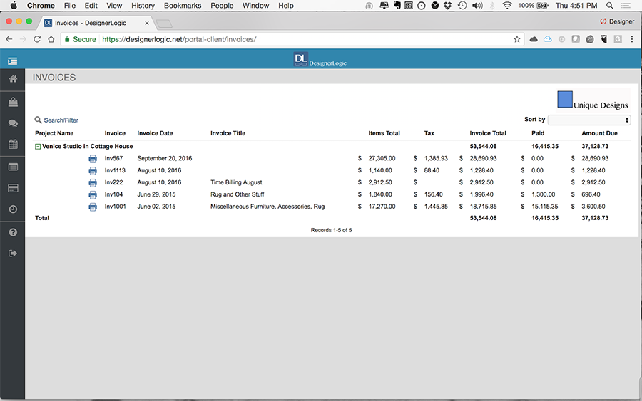 Client View: Invoice List