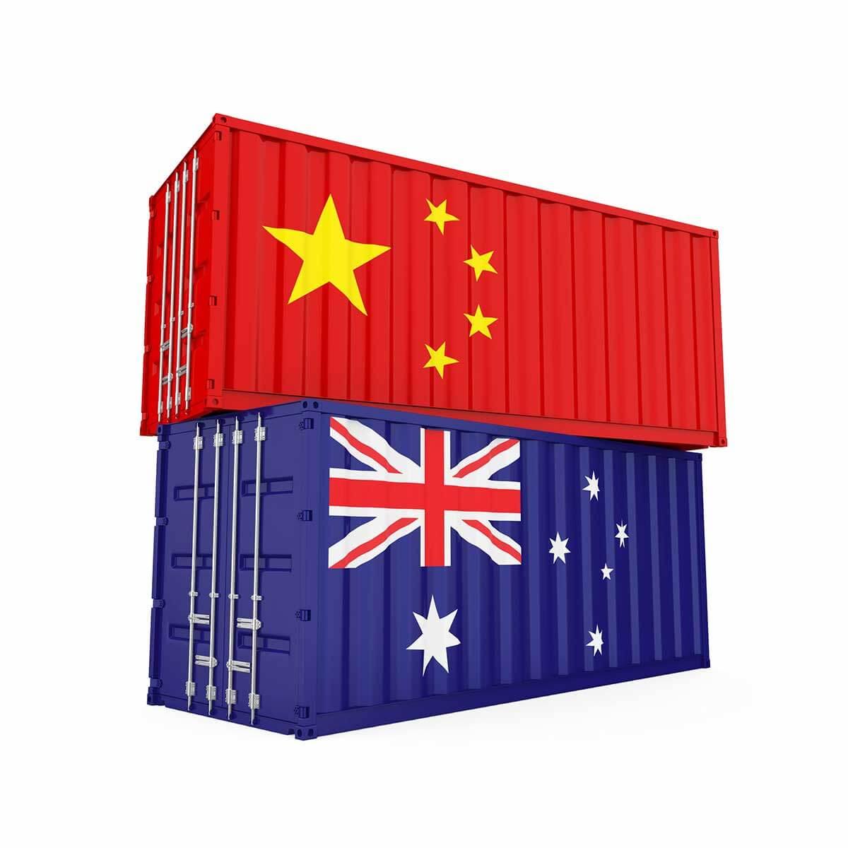 Import Export China Australia concept