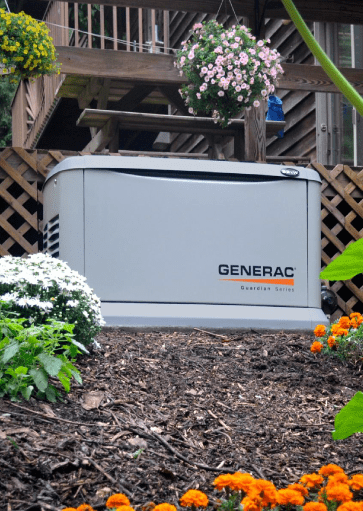 generac home power generator in back yard