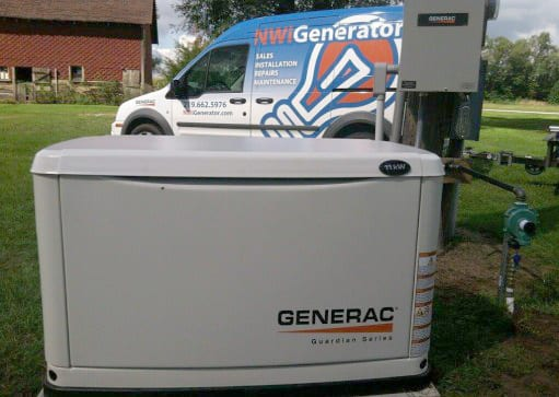 Commercial Generac power generator after being installed at farm