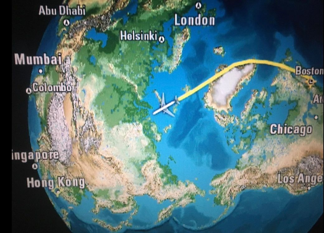 Flying over the North Pole to Hong Kong