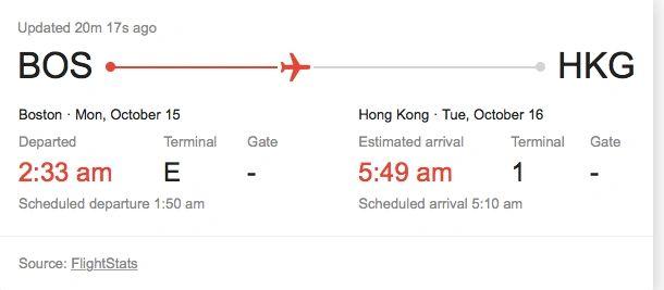 Boston to Hong Kong flight