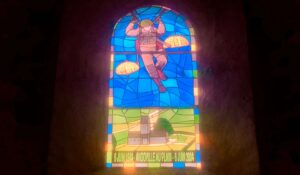 paratroopers stained glass church windows normandy france