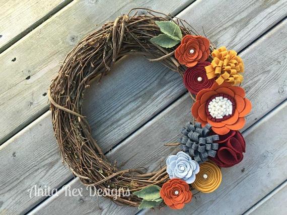 Fall wreath, felt flowers, etsy Anita Rex Designs
