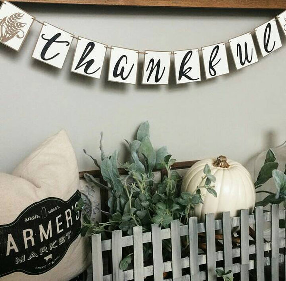 Fall decor, thankful, banner, etsy
