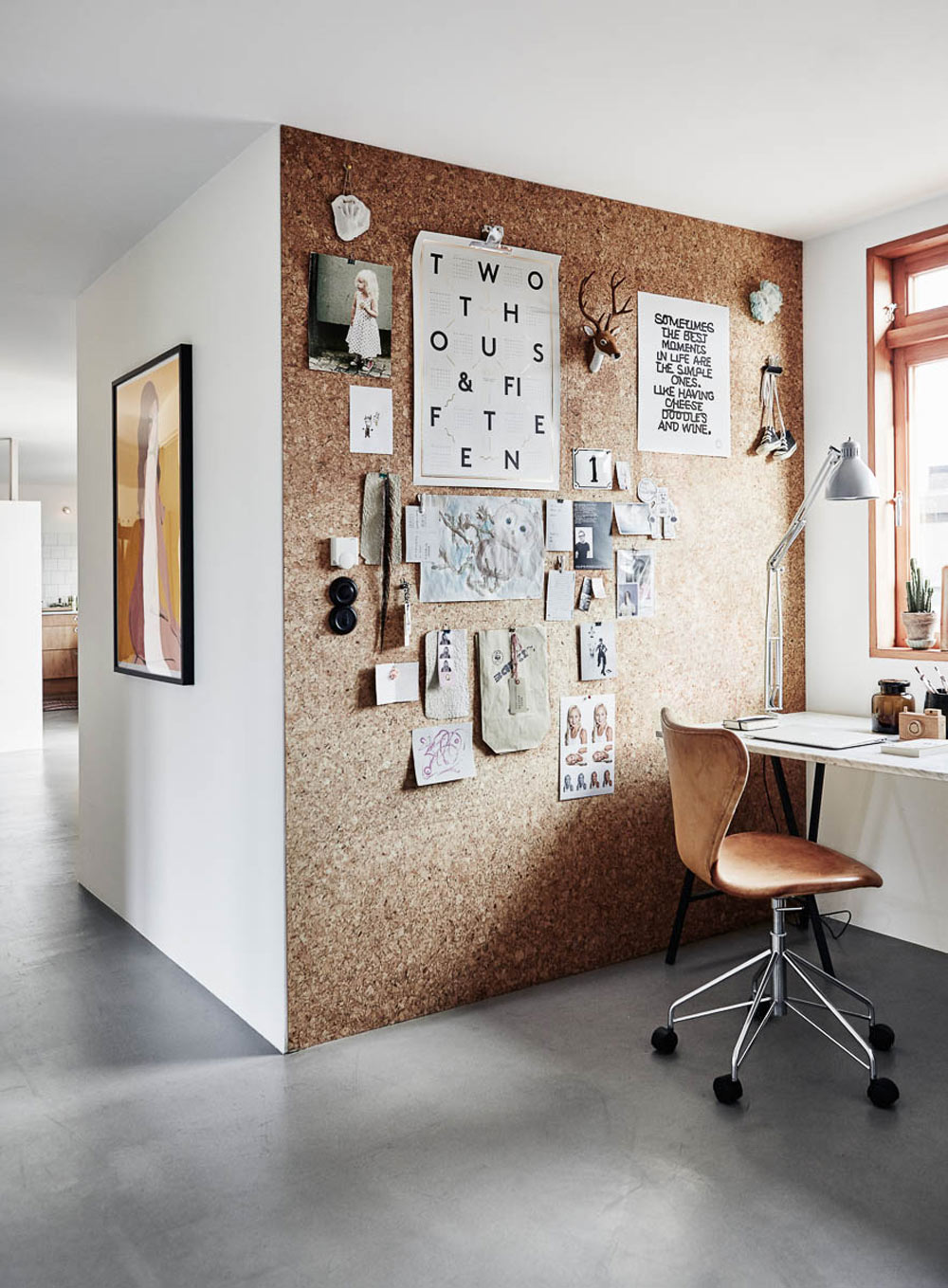 Scandinavian Style, Tina Hellberg Interior, Cork Wall, Home Office