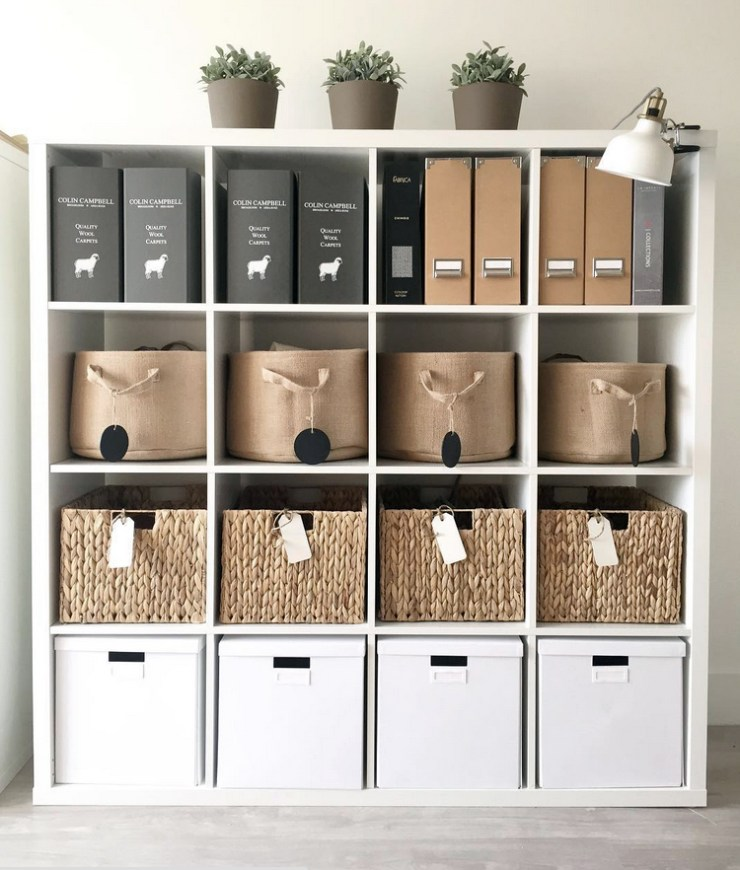 Office space, organization, storage bins