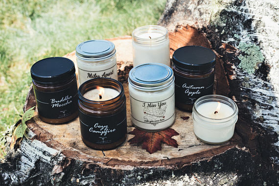 vibesandco, soy candles, buddha moccha, cozy campfire, fall decor