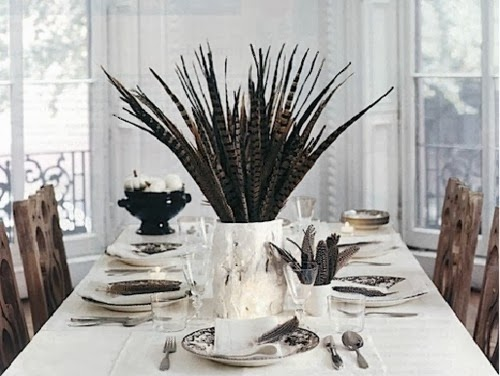 Fall table setting, thanksgiving centerpiece, elements at home, feather decorating