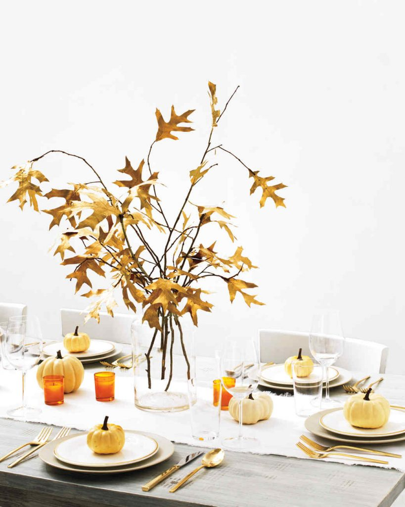 Martha Stewart, Fall centerpiece, thanksgiving table setting