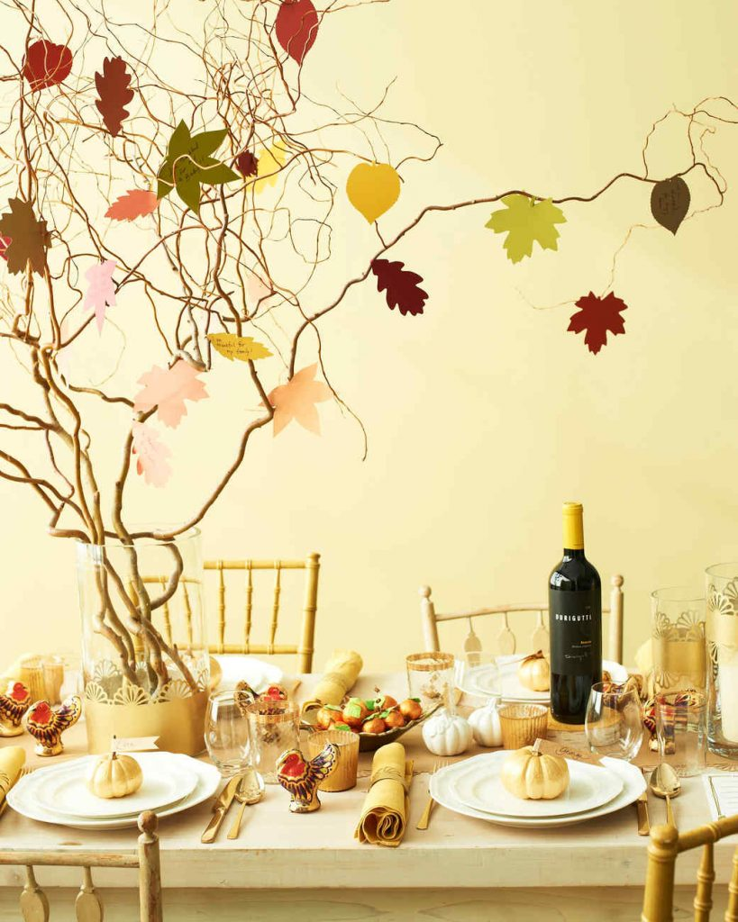 Fall table, thanksgiving table, thankful tree centerpiece, martha stewart