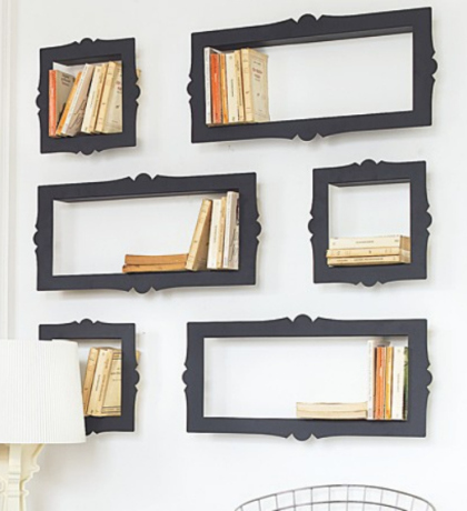 DIY Framed bookshelves