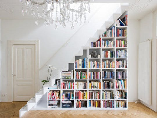 Staircase Bookshelf Apartment Therapy